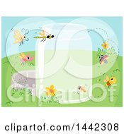 Clipart Of A Glass Jar With Flying Insects Royalty Free Vector Illustration