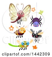 Clipart Of A Happy Butterfly Spider Bee And Dragonflies Royalty Free Vector Illustration by BNP Design Studio