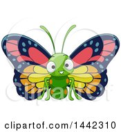 Clipart Of A Cartoon Happy Butterfly Royalty Free Vector Illustration by BNP Design Studio
