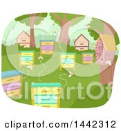 Clipart Of Busy Bee Boxes And Bug Hotels Royalty Free Vector Illustration