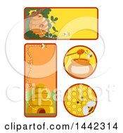 Clipart Of Bee Icons And Label Design Elements Royalty Free Vector Illustration