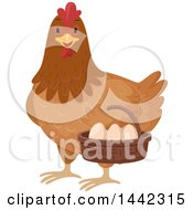 Happy Brown Hen Carrying A Basket Of Chicken Eggs