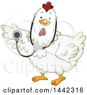 White Chicken Veterinarian Holding A Stethoscope