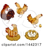 Poster, Art Print Of Hen Chickens A Rooster Nest Chick And Eggs