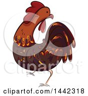 Clipart Of A Rooster Chicken Royalty Free Vector Illustration by BNP Design Studio