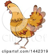 Clipart Of A Hen Chicken Royalty Free Vector Illustration by BNP Design Studio