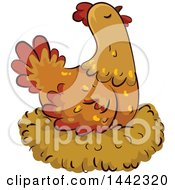 Clipart Of A Hen Chicken On A Nest Royalty Free Vector Illustration