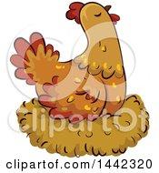 Hen Chicken On A Nest