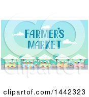 Clipart Of A Farmers Market With Stands And Text Royalty Free Vector Illustration