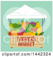 Clipart Of A Farmers Market Stall With Produce On Green Royalty Free Vector Illustration
