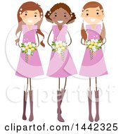 Clipart Of A Group Of Happy Young Wedding Bridesmaids In Pink Dresses Royalty Free Vector Illustration
