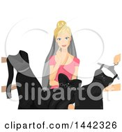 Blond Caucasian Bride Looking At Black Dresses