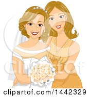 Happy Caucasian Daughter Posing With Her Mother On Her Wedding Day Or Golden Anniversary
