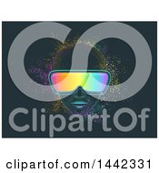 Clipart Of A Man Wearing Virtual Reality Goggles With Colorful Dust Royalty Free Vector Illustration