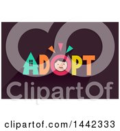 Clipart Of A Boys Face In The Word Adopt Royalty Free Vector Illustration