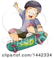 Clipart Of A Cartoon Caucasian Boy Skateboarding And Catching Air Royalty Free Vector Illustration