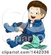 Clipart Of A Cartoon Brunette Caucasian Boy Putting On Winter Boots Royalty Free Vector Illustration