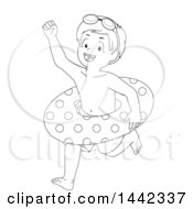 Clipart Of A Black And White Lineart Little Boy Running To Go Swimming With An Inner Tube Royalty Free Vector Illustration