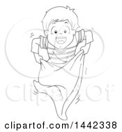 Clipart Of A Black And White Lineart Little Boy Hopping In A Potato Sack Royalty Free Vector Illustration