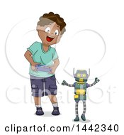 Clipart Of A Cartoon Happy Black Boy Operating A Toy Robot Royalty Free Vector Illustration