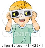 Clipart Of A Cartoon Red Haired Caucasian Boy Wearing Eclipse Glasses Royalty Free Vector Illustration by BNP Design Studio