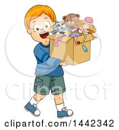 Clipart Of A Cartoon Red Haired Caucasian Boy Carrying A Box Of Old Toys Royalty Free Vector Illustration