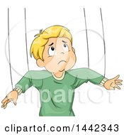 Clipart Of A Cartoon Blond Caucasian Boy Attached To Puppet Strings Royalty Free Vector Illustration