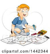Cartoon Red Haired Caucasian Boy Sitting On The Floor And Drawing Constellations