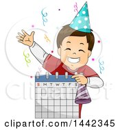 Clipart Of A Cartoon Brunette Caucasian Boy Celebrating His Birthday And Holding A Calendar Royalty Free Vector Illustration