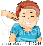 Clipart Of A Parent Pinching A Caucasian Boys Ear Royalty Free Vector Illustration by BNP Design Studio