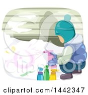 Poster, Art Print Of Boy In Winter Clothing Spray Painting Snow