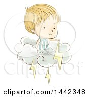 Sketched Caucasian Boy On A Cloud With Lightning Bolts