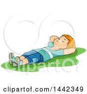 Clipart Of A Cartoon Red Haired Caucasian Boy Laying On His Back In Grass Royalty Free Vector Illustration by BNP Design Studio