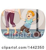 Red Haired Caucasian Boy Wailing Throwing A Temper Tantrum And Being Pulled By His Mother