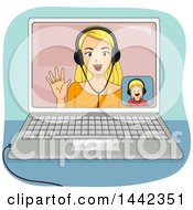 Clipart Of A Blond Caucasian Mother And Son Video Chatting On A Laptop Computer Royalty Free Vector Illustration