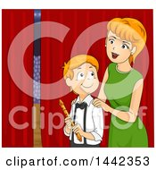 Clipart Of A Red Haired Caucasian Mother Cheering Him On Before A Flute Peformance Royalty Free Vector Illustration