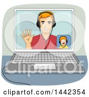 Clipart Of A Cartoon Red Haired Caucasian Son And Father Video Chatting On A Laptop Computer Royalty Free Vector Illustration