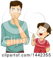 Clipart Of A Cartoon Caucasian Father Thinking After His Son Asks A Question Royalty Free Vector Illustration by BNP Design Studio