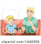 Clipart Of A Blond Caucasian Father And Son Sitting On A Couch And Using A Remote Control Royalty Free Vector Illustration