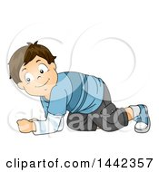 Clipart Of A Cartoon Brunette Caucasian Boy Crawling Royalty Free Vector Illustration