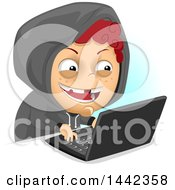 Clipart Of A Naughty Red Haired Caucasian Boy Bullying Or Hacking Online Royalty Free Vector Illustration by BNP Design Studio