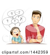 Clipart Of A Cartoon Caucasian Boy Asking His Father Questions Royalty Free Vector Illustration