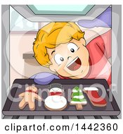 Clipart Of A Cartoon Excited Caucasian Boy Pulling Out Christmas Gingerbread Cookies From An Oven Royalty Free Vector Illustration by BNP Design Studio