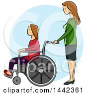 Sketched Caucasian Woman Pushing Her Disabled Daughter In A Wheelchair