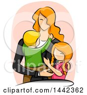 Sketched Red Haired Caucasian Mother With Her Son And Daughter