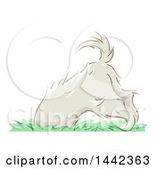 Clipart Of A Sketched Digging Dog Royalty Free Vector Illustration