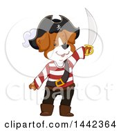 Clipart Of A Pirate Dog Holding Up A Sword Royalty Free Vector Illustration by BNP Design Studio