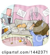 Clipart Of A Cartoon Woman Stressed Out Over Damage Caused By Her Cats Royalty Free Vector Illustration