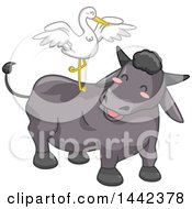 Clipart Of A Crane Balancing On The Back Of A Carabao Water Buffalo Royalty Free Vector Illustration by BNP Design Studio