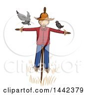 Clipart Of A Scarecrow With Crows Royalty Free Vector Illustration by BNP Design Studio